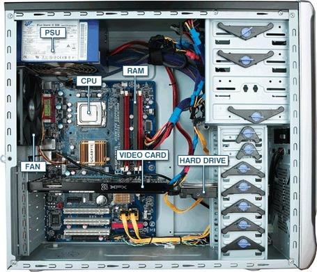 Inside a desktop computer